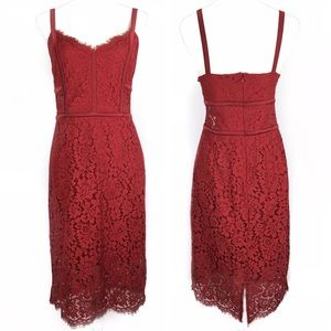 Express Red Lace Piped Sheath Dress